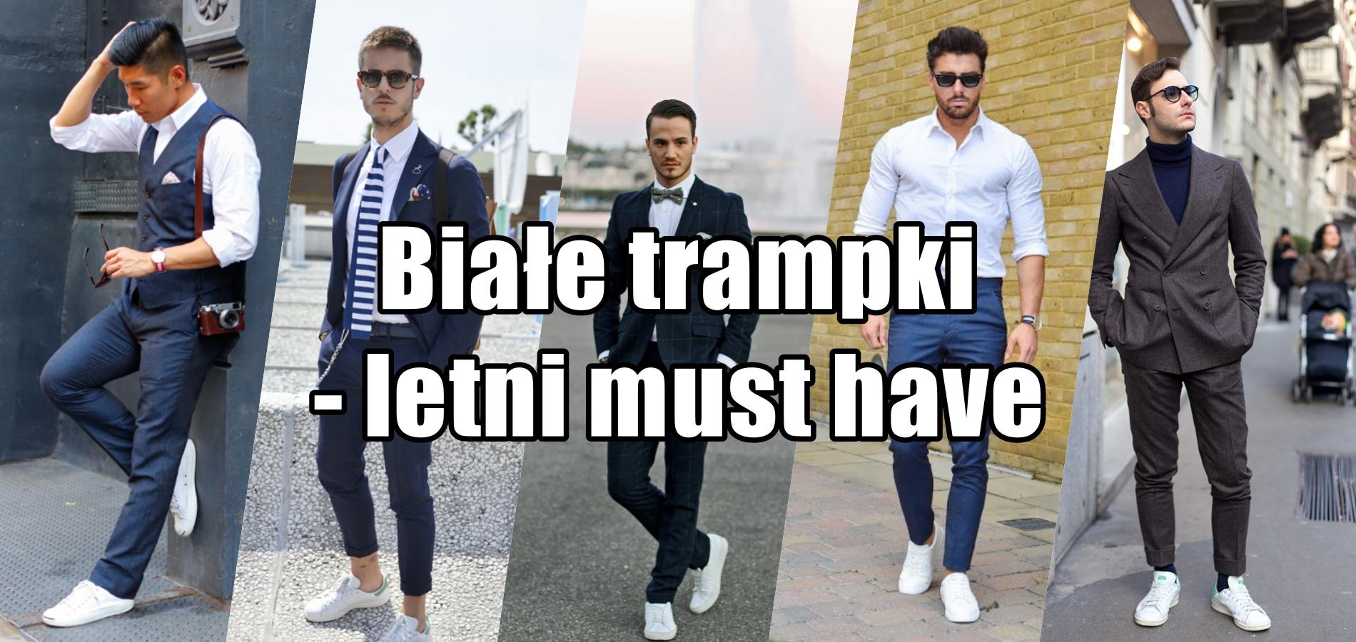 moda męska, stylizacje, sneakersy, białe buty, skarpetki we