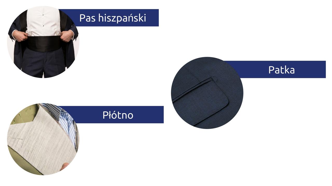 słowniczek pojęć moda męska słownik patka płótno pas hiszpański