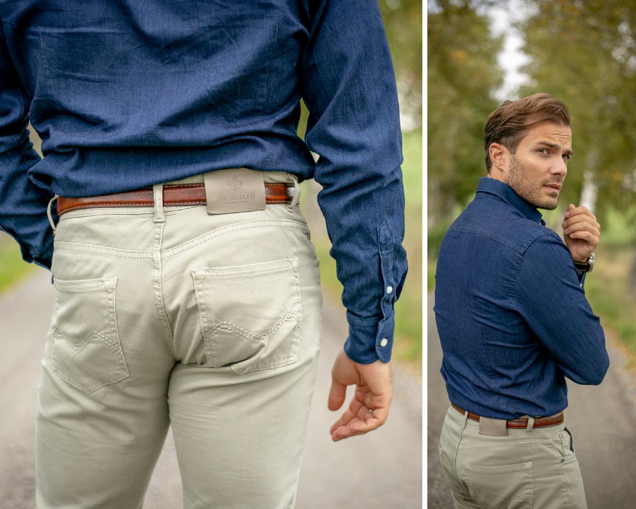 zamszowe trampki i spodnie morris