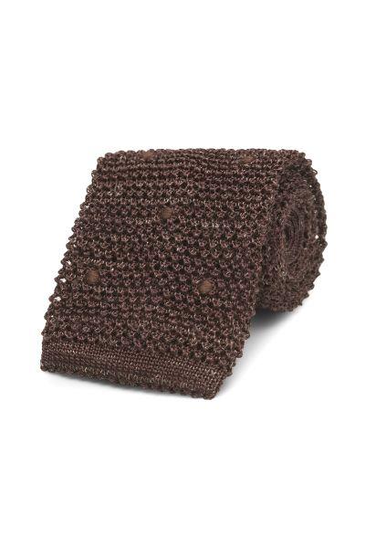 Krawat knit dzianinowy brązowy