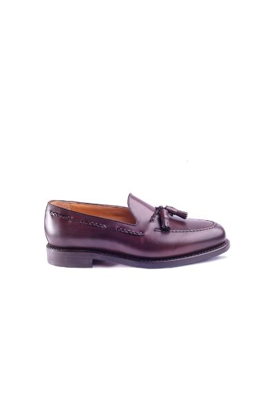 Burgundowe tassel loafers Berwick
