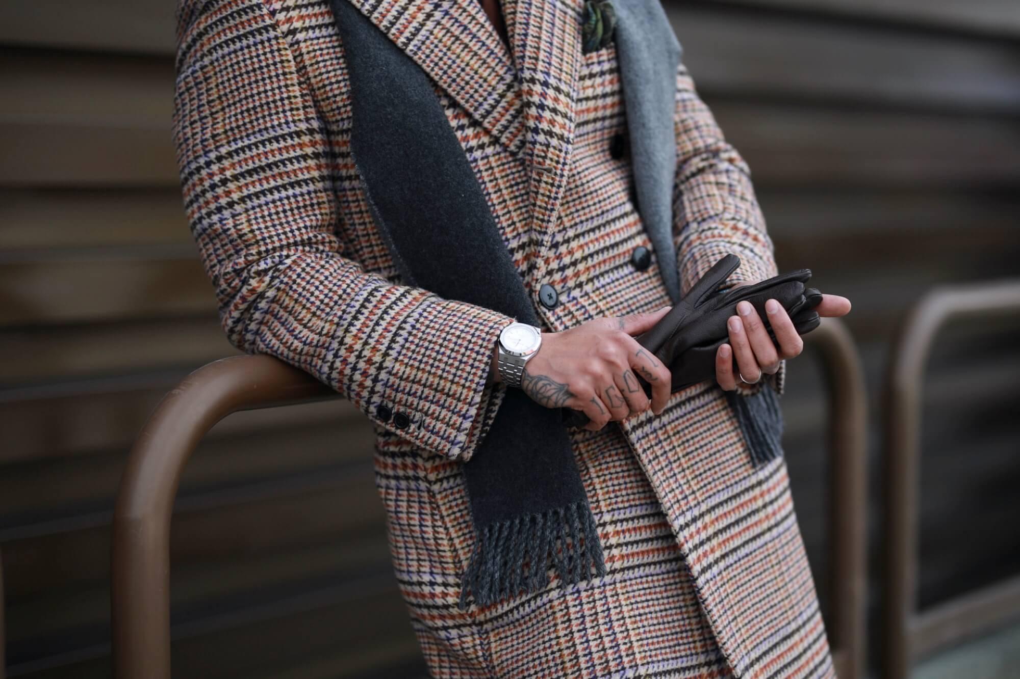 płaszcz dwurzędowy w pepitkę