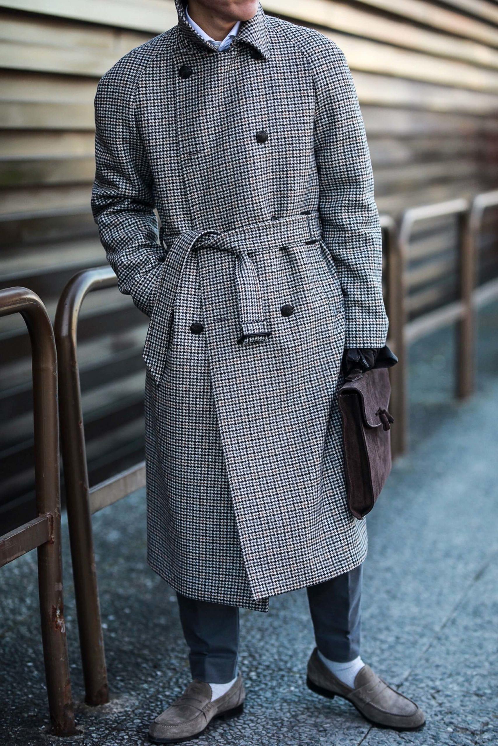 płaszcz raglan w pepitkę