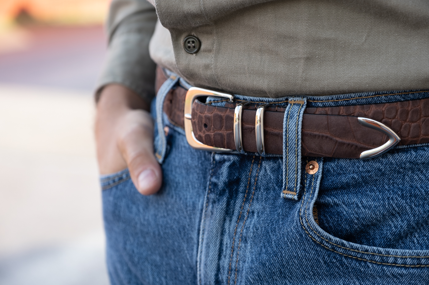 second hand silver ostrich belt